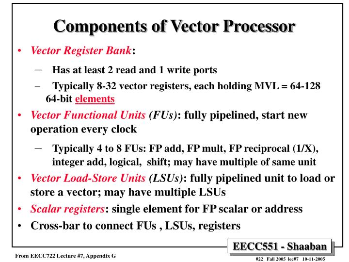 Components of Vector Processor