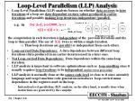 loop level parallelism llp analysis
