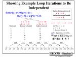 showing example loop iterations to be independent