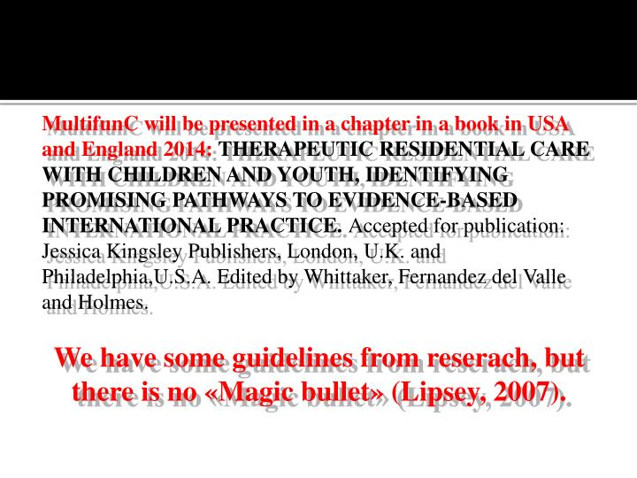 MultifunC will be presented in a chapter in a book in USA and England 2014: