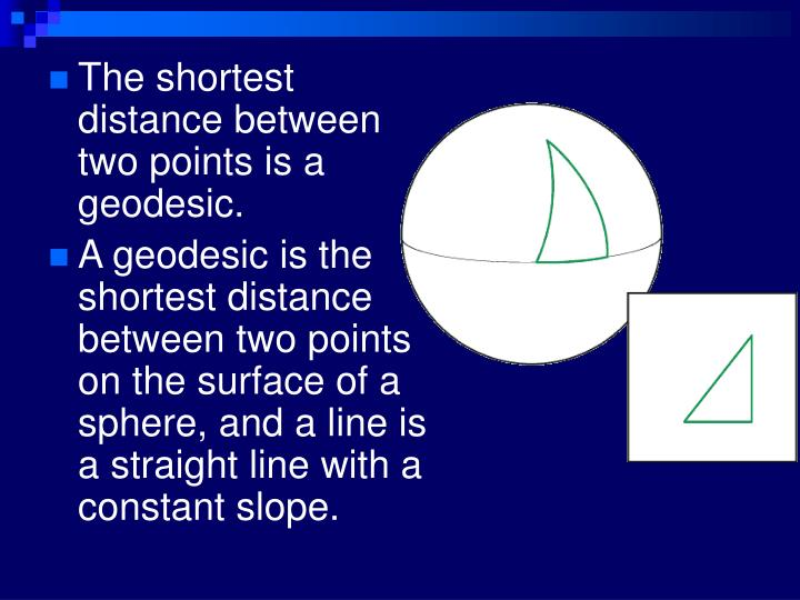 The shortest distance between two points is a geodesic.