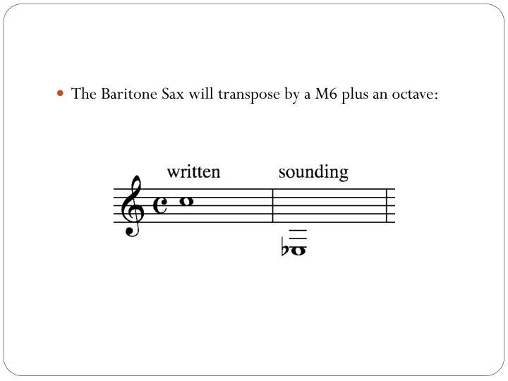 The Baritone Sax will transpose by a M6 plus an octave: