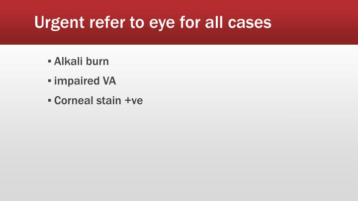 Urgent refer to eye for all cases