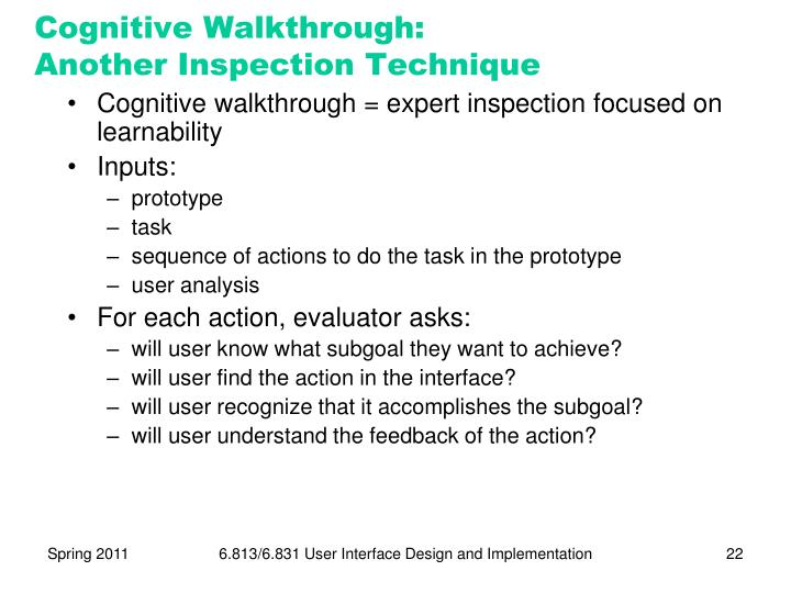 Cognitive Walkthrough: