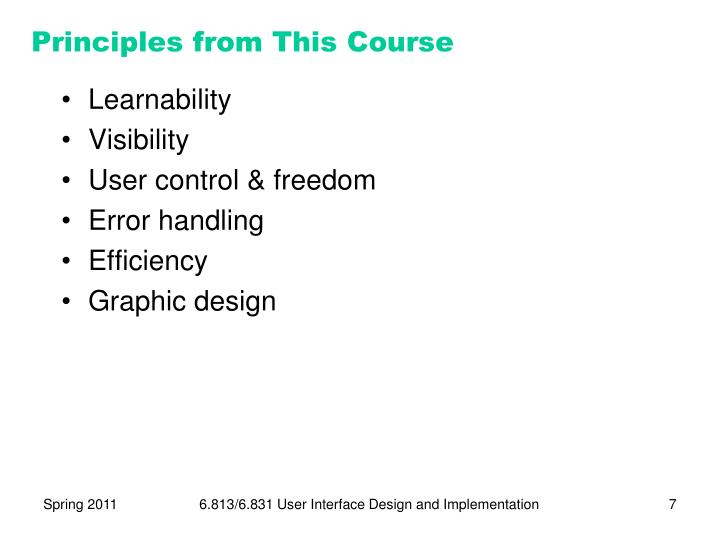 Principles from This Course