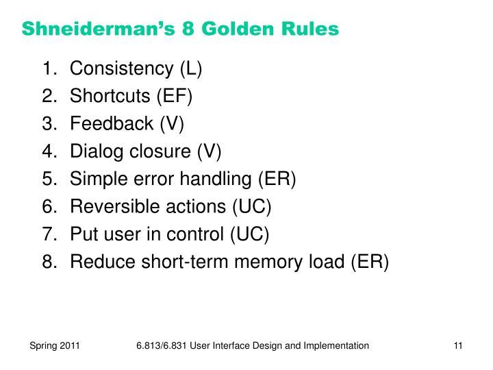 Shneiderman's 8 Golden Rules