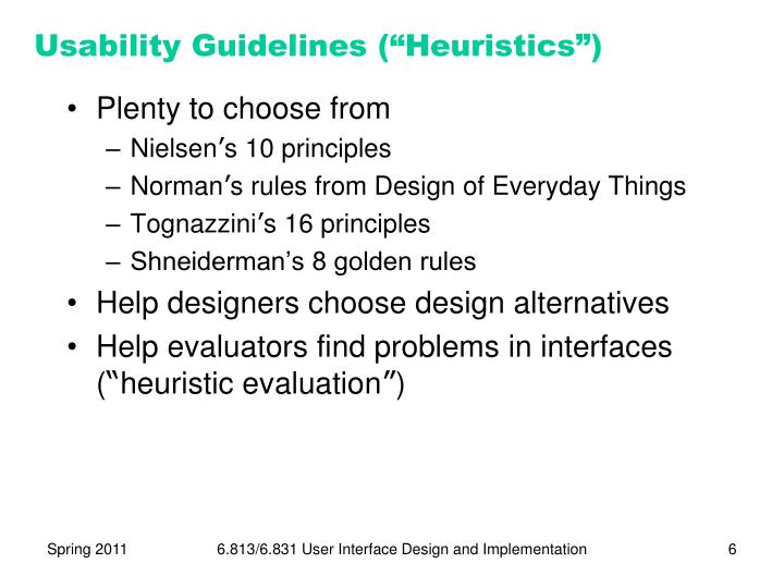 "Usability Guidelines (""Heuristics"")"
