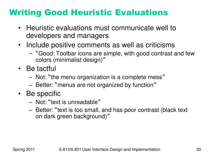 Writing Good Heuristic Evaluations