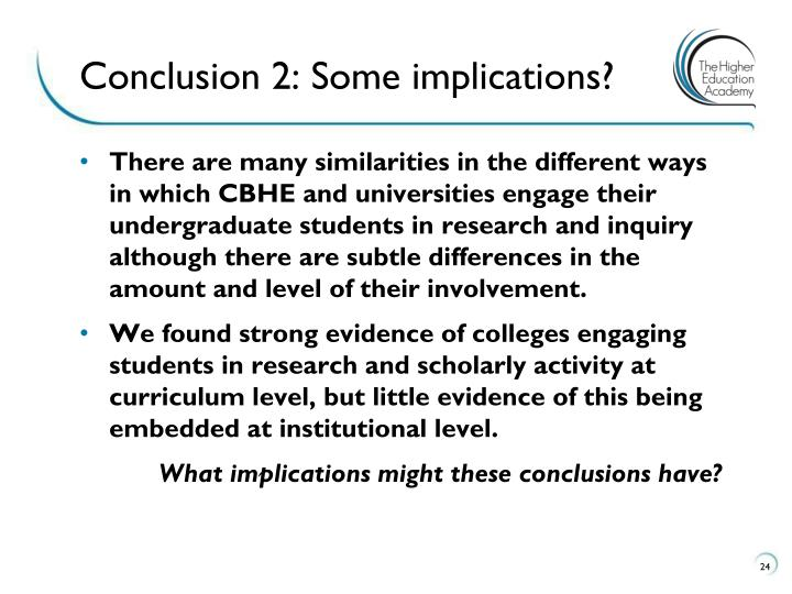 Conclusion 2: Some implications?