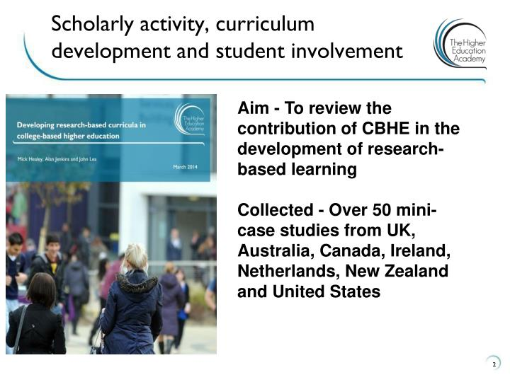 Scholarly activity curriculum development and student involvement1