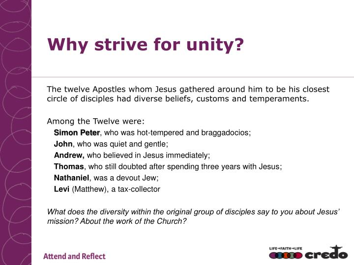 Why strive for unity?