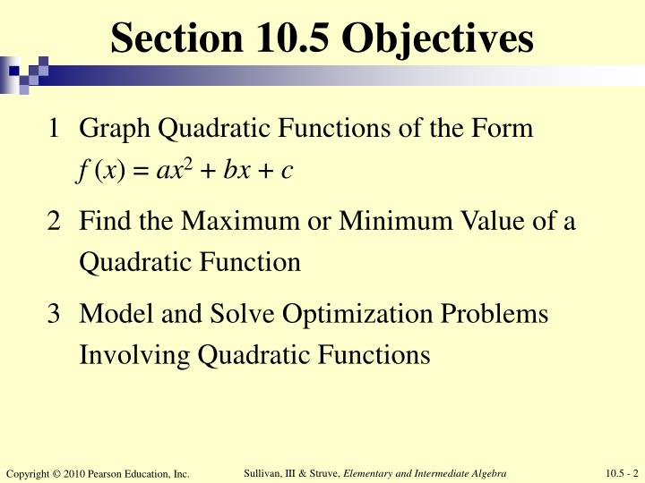 Section 10 5 objectives