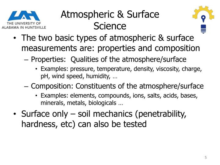 Atmospheric & Surface Science