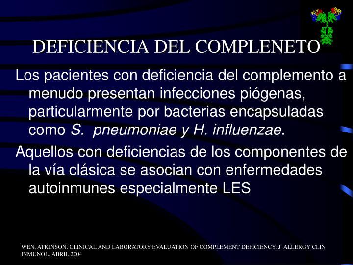DEFICIENCIA DEL COMPLENETO