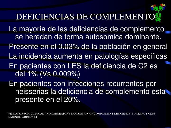 DEFICIENCIAS DE COMPLEMENTO