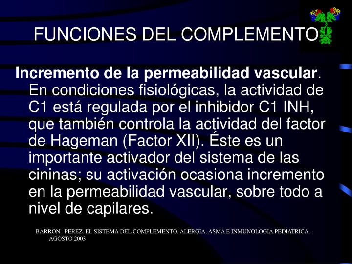 FUNCIONES DEL COMPLEMENTO