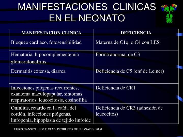 MANIFESTACIONES  CLINICAS EN EL NEONATO