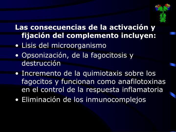 Las consecuencias de la activación y fijación del complemento incluyen: