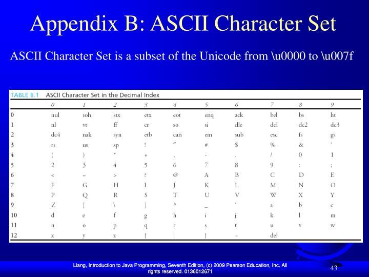 Appendix B: ASCII Character Set