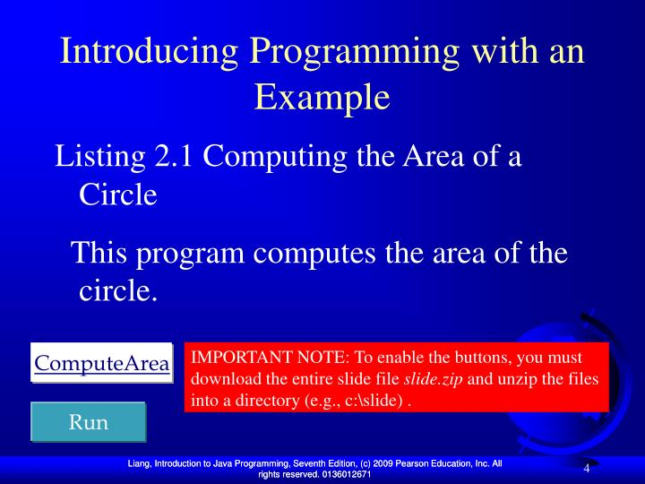 Introducing Programming with an Example