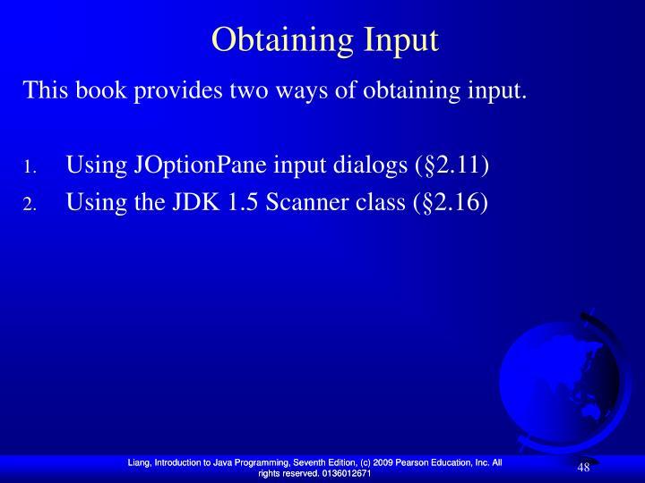 Obtaining Input