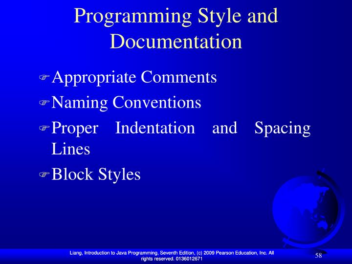 Programming Style and Documentation