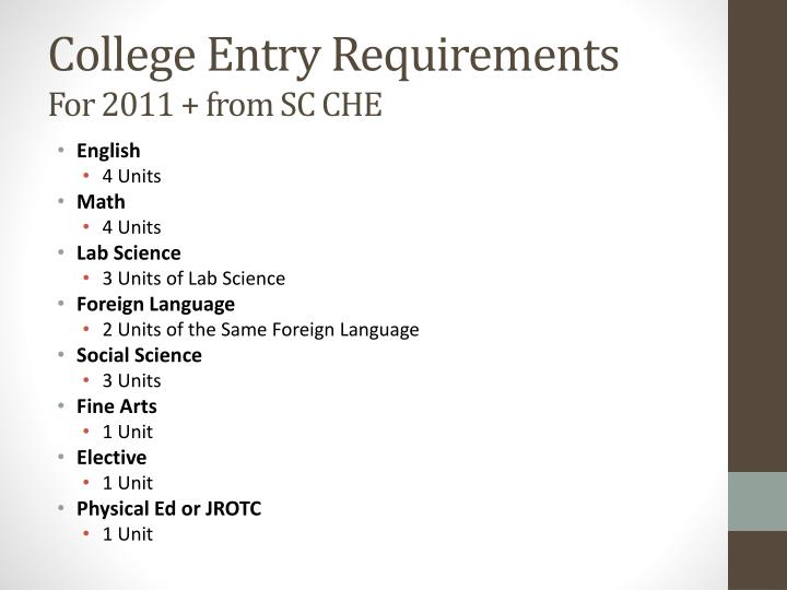 College entry requirements for 2011 from sc che
