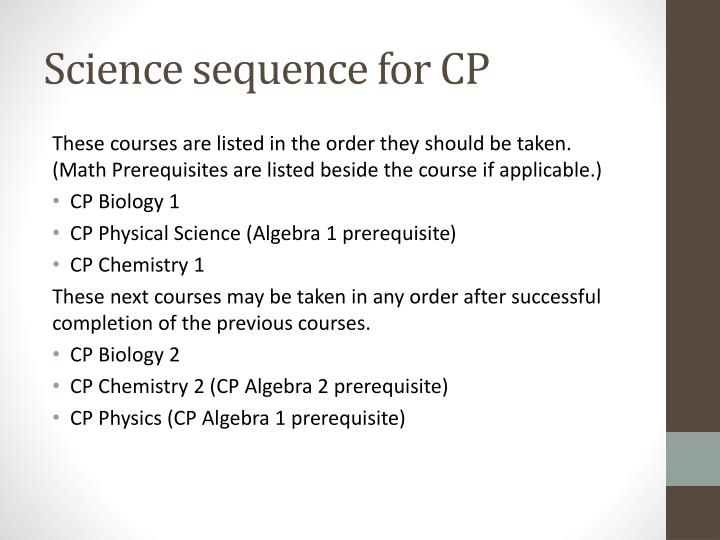 Science sequence for CP