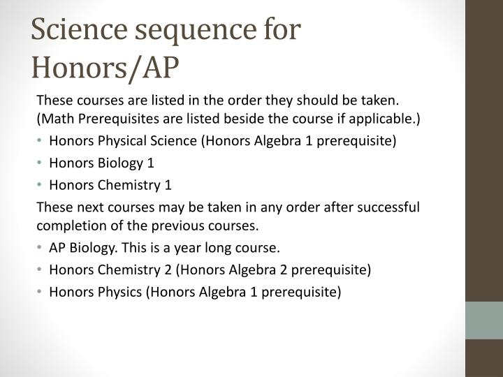 Science sequence for Honors/AP