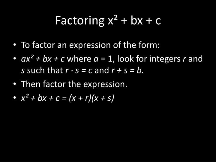 Factoring x² +