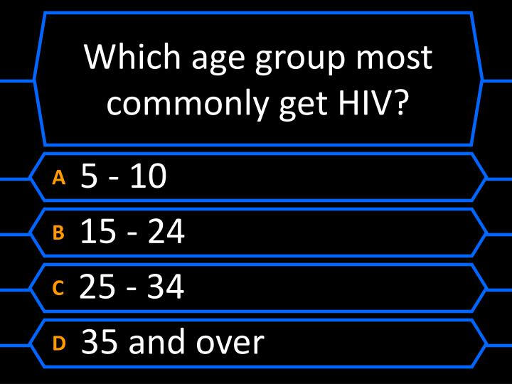 Which age group most commonly get HIV?
