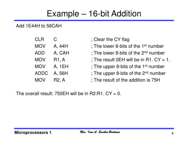 Example – 16-bit Addition