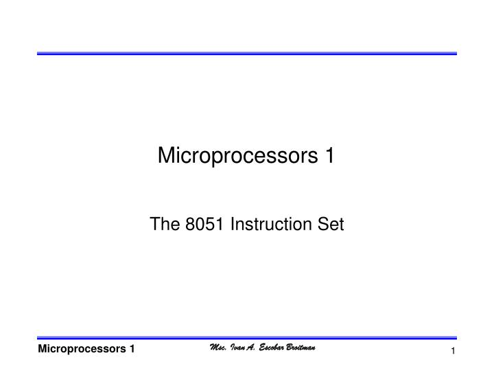 Microprocessors 1