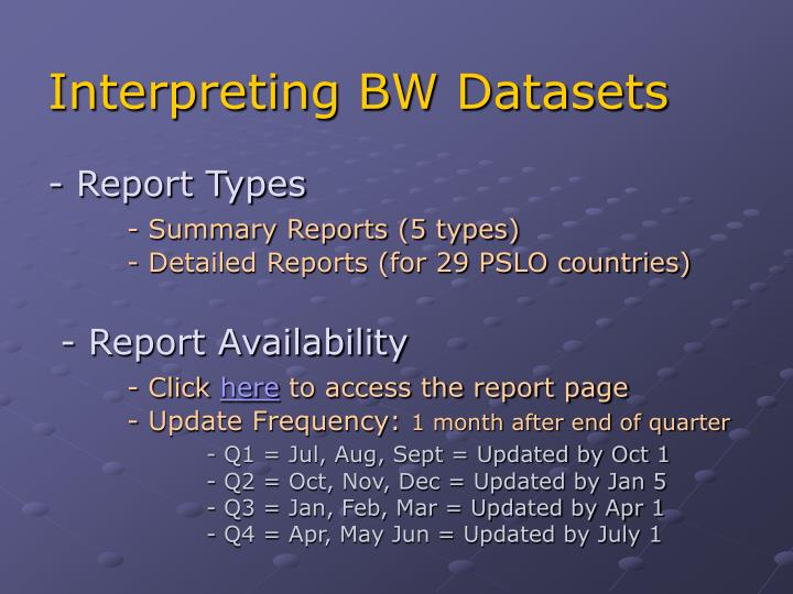 Interpreting BW Datasets