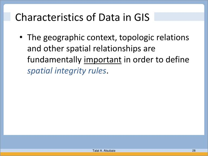 Characteristics of Data in GIS
