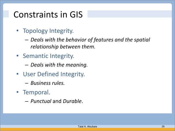 Constraints in GIS
