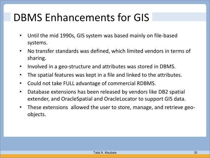 DBMS Enhancements for GIS
