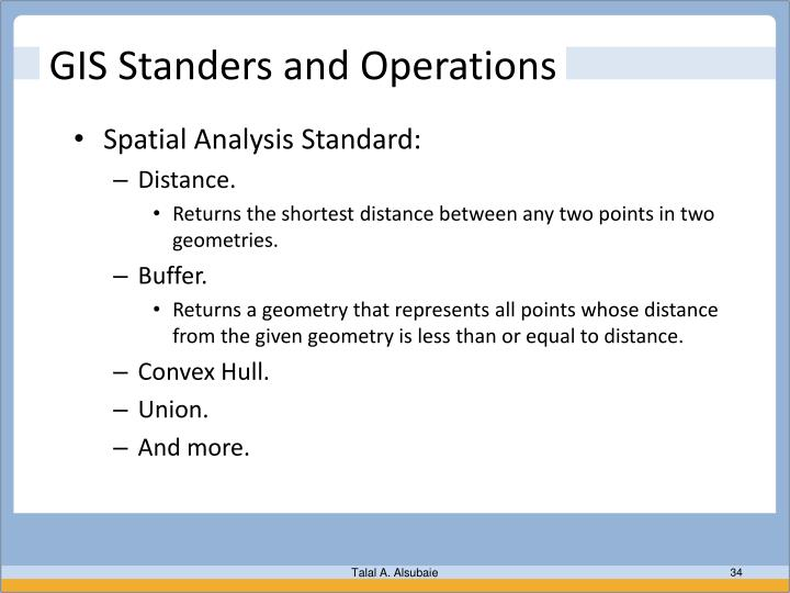 GIS Standers and Operations