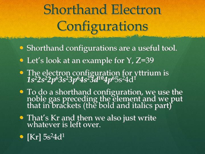 Shorthand electron configurations