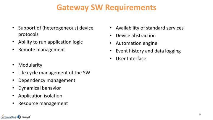 Gateway SW Requirements
