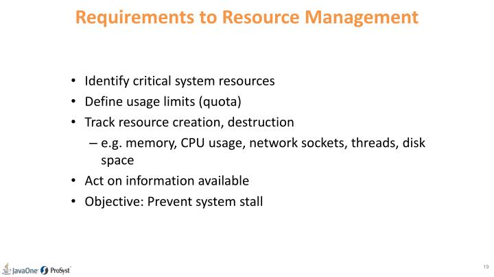 Requirements to Resource Management