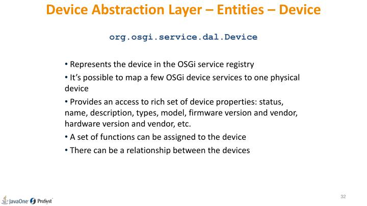 Device Abstraction Layer – Entities – Device