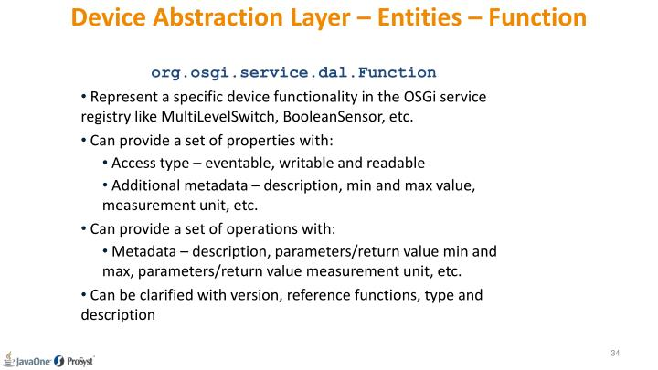 Device Abstraction Layer – Entities – Function