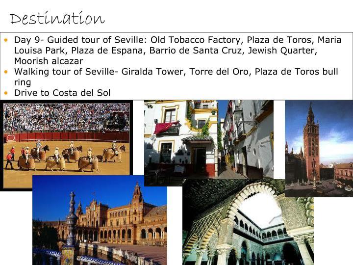 Day 9- Guided tour of Seville: Old Tobacco Factory, Plaza de Toros, Maria Louisa Park, Plaza de Espana, Barrio de Santa Cruz, Jewish Quarter, Moorish alcazar