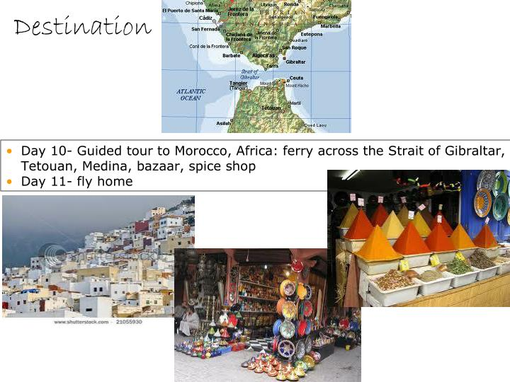 Day 10- Guided tour to Morocco, Africa: ferry across the Strait of Gibraltar, Tetouan, Medina, bazaar, spice shop