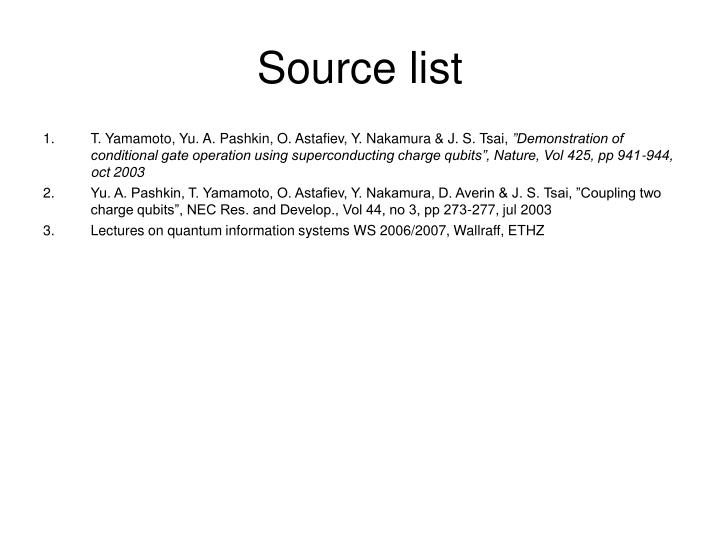 Source list