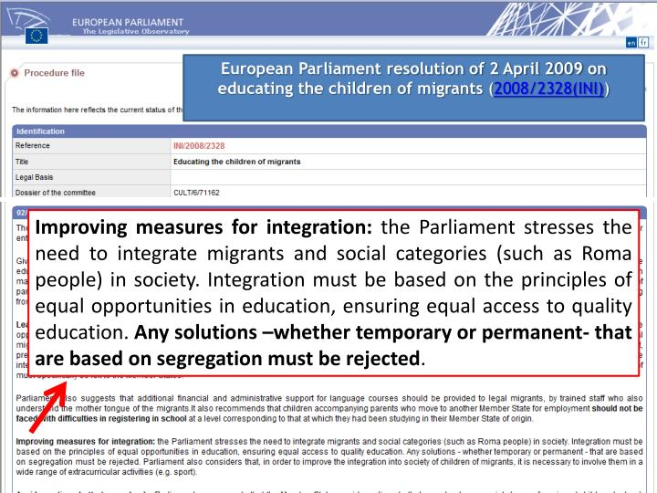 European Parliament resolution of 2 April 2009 on educating the children of migrants