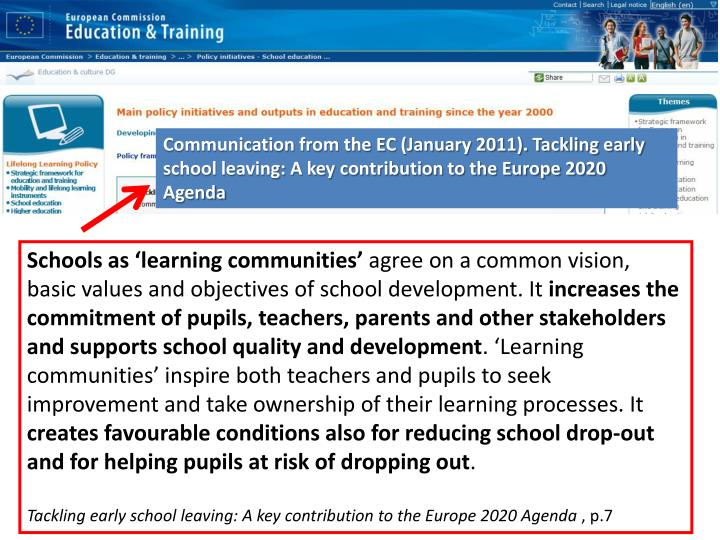Communication from the EC (January 2011). Tackling early school leaving: A key contribution to the Europe 2020 Agenda