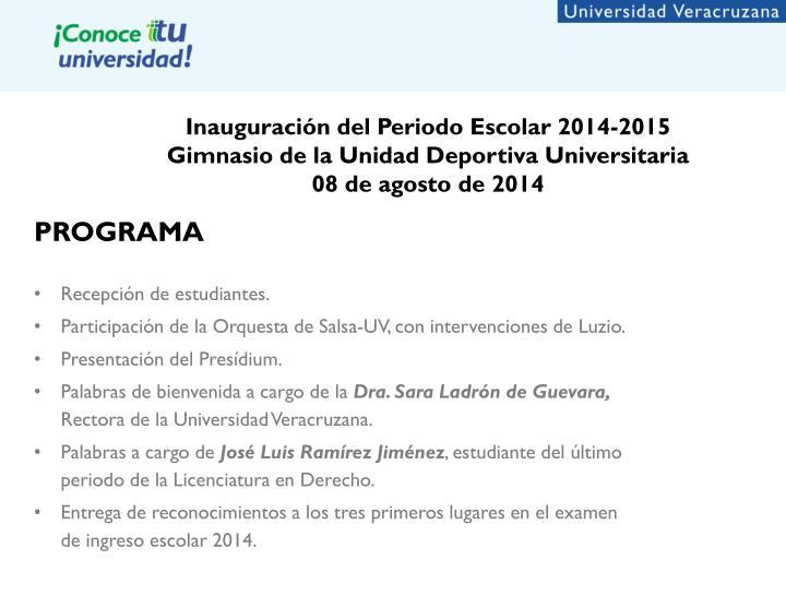 Inauguración del Periodo Escolar 2014-2015