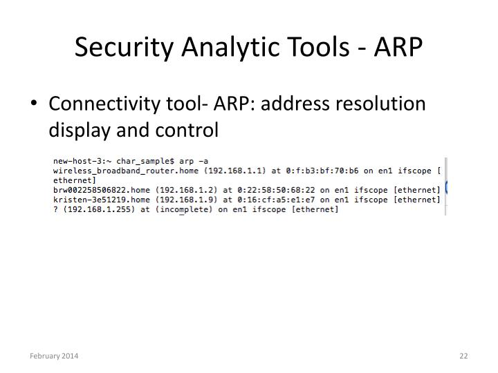Security Analytic Tools - ARP